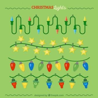 Set van kerstverlichting met kleurrijke lampen