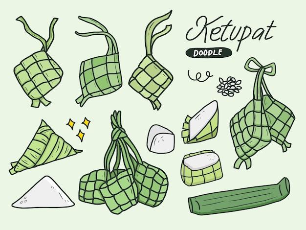 Set van ketupat doodle tekening icoon collectie