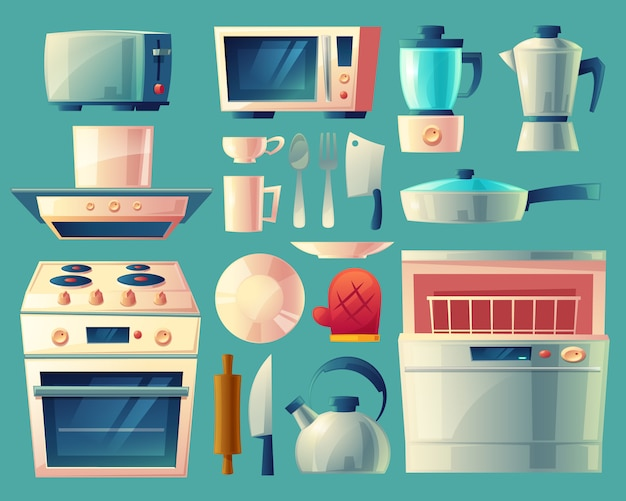 Set van keukenapparatuur - wasmachine, broodrooster, koelkast, magnetron, waterkoker