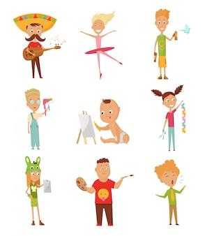 Set van kind activiteit, kind schilderen van een foto
