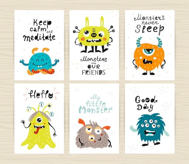 Set van kinderachtig illustratie met schattige monsters.