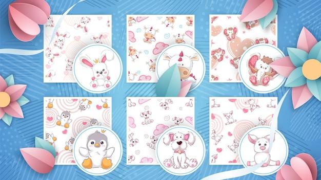 Set van kinderachtige dierenillustraties