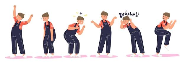 Set van kinderemotie: blij, misbruikt huilen, woedend en boos, verward, ondeugend, bang en bang. klein jongenskind in verschillende emotionele uitdrukkingen. cartoon platte vectorillustratie