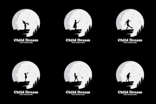 Set van kinderen droom ontwerp illustratie sjabloon