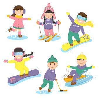 Set van kinderen en wintersport