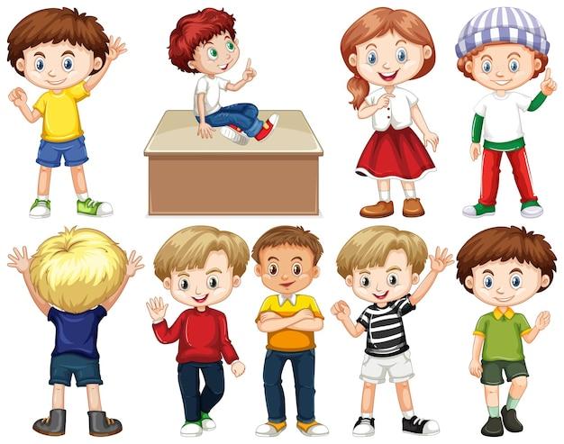 Set van kinderen met een blij gezicht