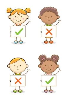 Set van kinderen met juiste en verkeerde symbool