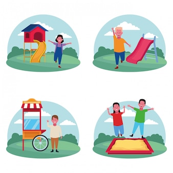 Set van kinderen op de speelplaats