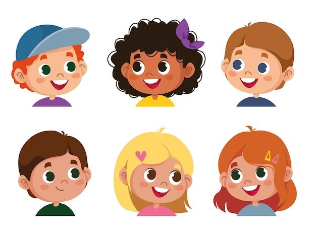 Set van kinderen s emoties. gezichtsuitdrukking. cartoon jongen en meisje avatar. vectorillustratie van baby stripfiguur schattig