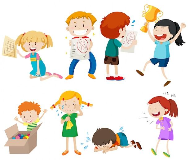 Set van kinderen scène