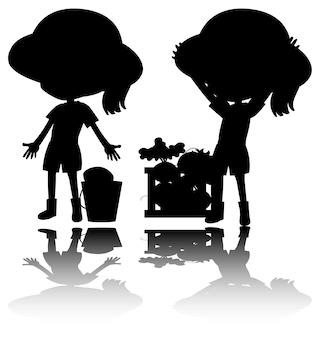 Set van kinderen silhouet met reflex op witte achtergrond
