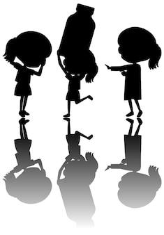 Set van kinderen silhouet met reflex