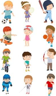 Set van kinderen sport