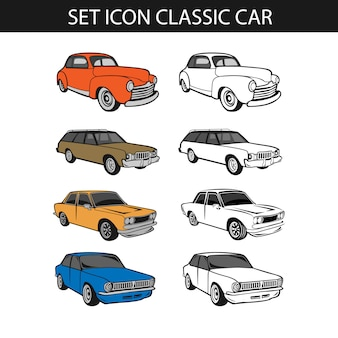Set van klassieke auto, verzameling van retro muscle cars