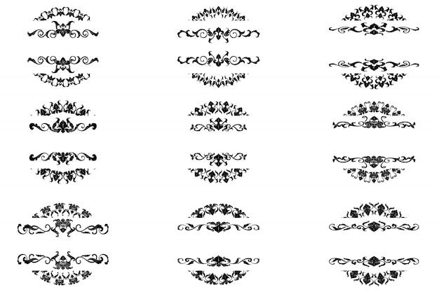 Set van klassieke bloeien sieraad frame vintage decoratieve randkunst