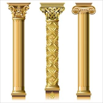 Set van klassieke gouden kolommen
