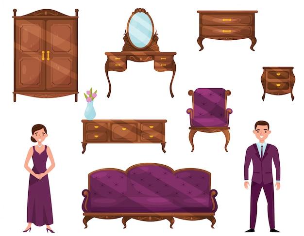 Set van klassieke houten meubels en mensen in formele kleding. vintage objecten voor interieur. jonge man en vrouw