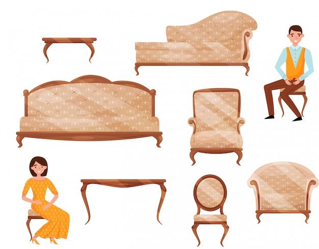 Set van klassieke meubels, jonge man en vrouw in formele kleding. objecten voor interieur. mensen stripfiguren