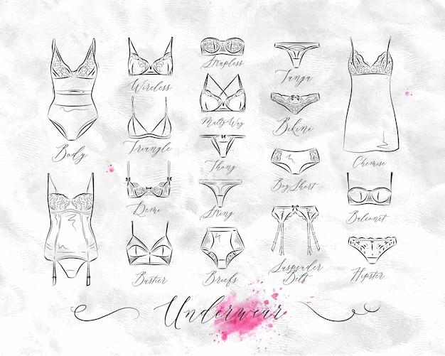 Set van klassieke ondergoed pictogrammen