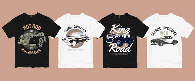 Set van klassieke oude auto t-shirt bundel