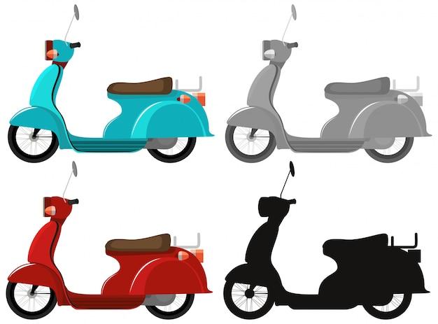 Set van klassieke scooter