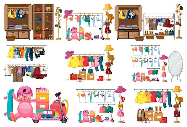 Set van kleding, accessoires en kledingkast geïsoleerd op een witte achtergrond