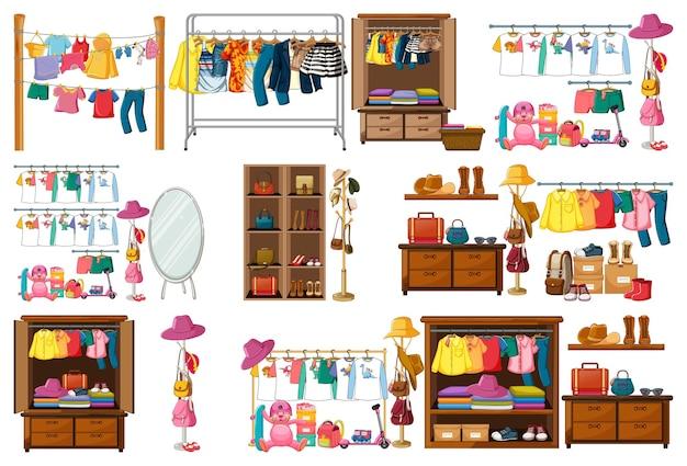Set van kleding, accessoires en kledingkast op wit