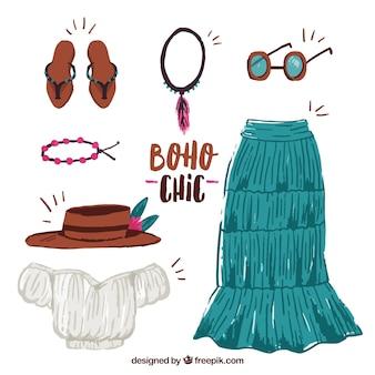 Set van kleding in boho stijl