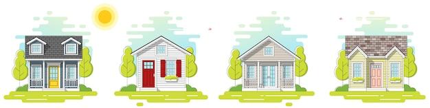 Set van kleine huizen dag scène banner