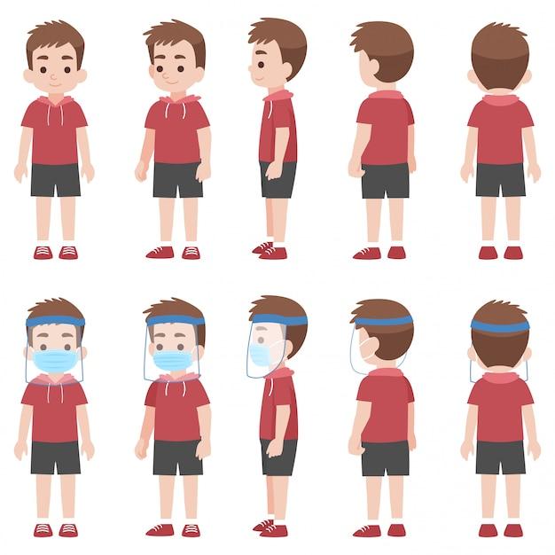 Set van kleine jongen in het nieuwe normale leven met een chirurgisch beschermend medisch masker en gelaatsscherm om coronavirus te voorkomen
