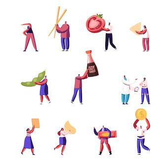 Set van kleine mannelijke en vrouwelijke personages met enorme houten eetstokjes, tomaat en snack, groene erwtenpeul, sojasaus en munt