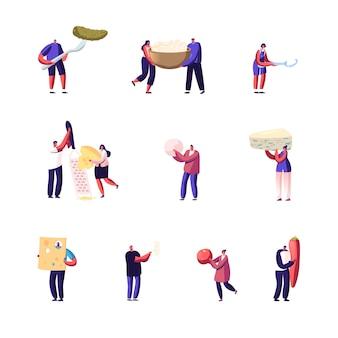 Set van kleine mannelijke en vrouwelijke personages met enorme voedingsproducten