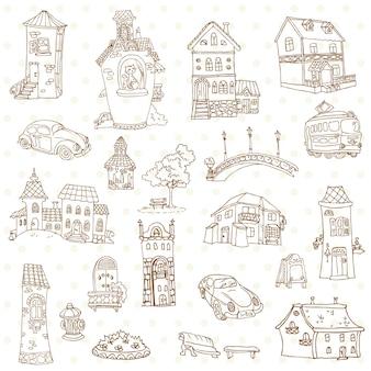 Set van kleine stad doodles