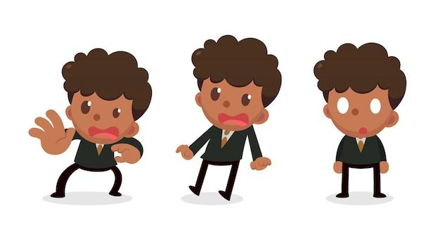 Set van kleine zakenman karakter in acties. bang en geschrokken.