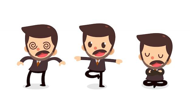 Set van kleine zakenman karakter in acties. doof gevoel.