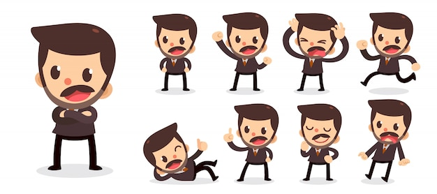Set van kleine zakenman karakter in acties