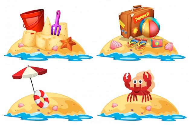 Set van kleine zand eilanden