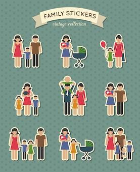 Set van kleur familie pictogrammen