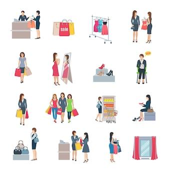 Set van kleur plat pictogrammen beeltenis vrouw winkelen selectie kleding schoenen tas in winkel