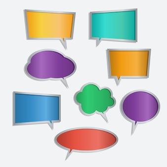Set van kleur spraak zeepbel pictogrammen