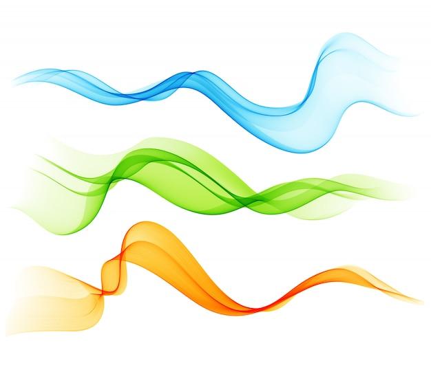 Set van kleur transparante rokerige golf