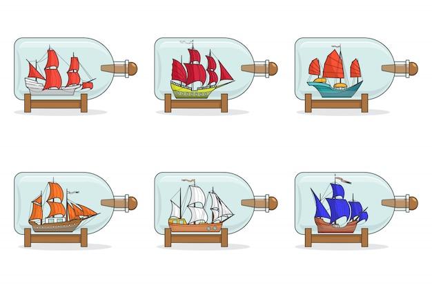 Set van kleurenschepen met zeilen in glazen. herinneringen met zeilboot die op witte achtergrond wordt geïsoleerd. reizende decoratie. platte lijntekeningen. vectorillustratie voor reis, toerisme, reisbureau, hotels.