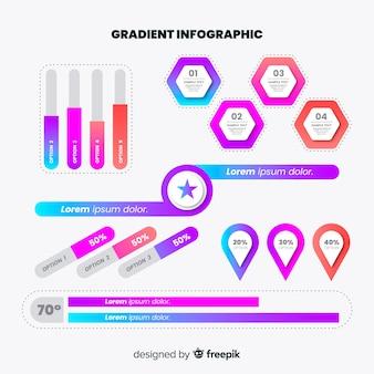 Set van kleurovergang infographic elementen