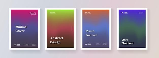 Set van kleurovergang kleurrijke achtergrond. minimale abstracte posters. verzameling. moderne vector sjabloon voor brochure, banner, plakkaat, cover, flayer.
