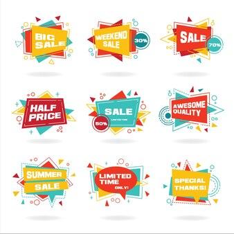 Set van kleurrijke abstracte chat label vector korting reclame