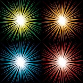 Set van kleurrijke abstracte starbursts