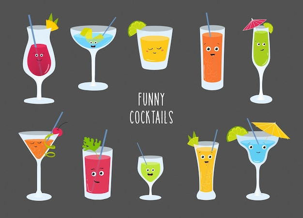 Set van kleurrijke alcohol en frisdranken, cocktail, smoothies, limonades met schattige lachende gezichten