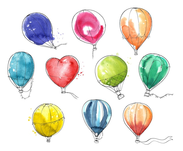 Set van kleurrijke aquarel heteluchtballonnen