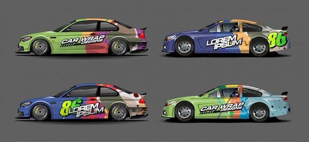 Set van kleurrijke auto stickers ontwerp