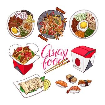 Set van kleurrijke aziatische gerechten. bibimbap, gedza, ramen en sushi. handgetekende illustratie
